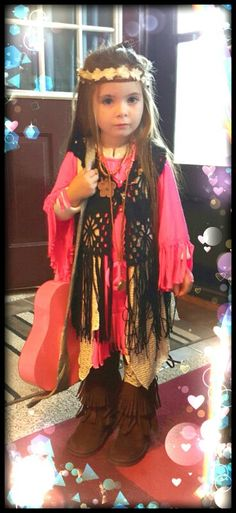 Hippie Toddler DIY 4yr old Halloween Costume Handmade Costume for child kids fun idea for making your own Costumes.