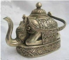 xx..tracy porter..poetic wanderlust...-Unique Tibetan Copper Carved Elephant Teapot