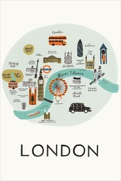 Travel ilustration design rifle paper 51 ideas for 2019 London Map, London Travel, London Poster, Travel Maps, Travel Posters, Greeting Card Shops, Up Book, Map Design, Graphic Design
