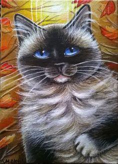 Ragdoll Cat Fall Painting