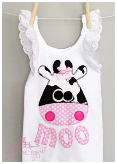 Moo Cow applique pink singlet with lace sleeve by BowPeepers, $19.00