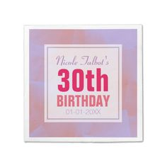 Abstract Pastel 30th Birthday Paper Napkins 8