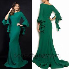 3/4 Sleeve Velvet Formal Dresses For Women Evening Gowns Party, tongshangyuan (1012 )Celebrity Custom