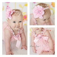 Baby Girl ClothesPink Lace Petti Romper and Flower por LillyBowPeep