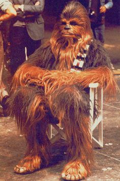 Peter Mayhew on the set of Star Wars (1977)