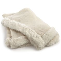 Hotel Collection Waffle-Knit Throw with Faux-Fur Trim, ($100) ❤ liked on Polyvore featuring home, bed & bath, bedding, blankets, ivory, fake fur throw, cream throw blanket, ivory throw, ivory throw blanket and faux fur throw blanket