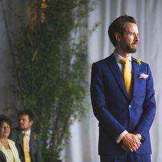 London Warehouse Yellow Grey Wedding Paul Smith Blue Suit Groom http://kristianlevenphotography.co.uk/
