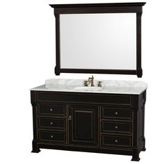 "You'll love the Andover 60"" Single Black Bathroom Vanity Set with Mirror at Wayfair - Great Deals on all Home Improvement products with Free Shipping on most stuff, even the big stuff."