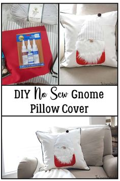 DIY Gnome Pillow Cover - No sew - This DIY No Sew Gnome Pillow cover is the cutest holiday craft you will do all year! It is the perfect pillow cover to use for Christmas Decor but it's perfect to leave out after the holidays as winter decor as well! Easy Christmas craft to do with the kids during a winter day stuck inside! #christmascraft #kidschristmascraft #gnomecrafts #christmasgnome