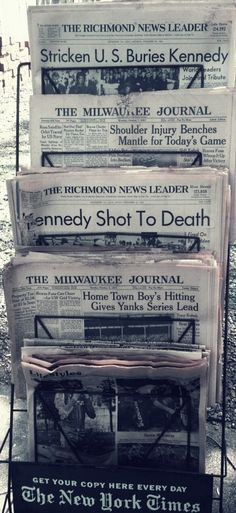 Newspapers kept from the 50's and 60's.