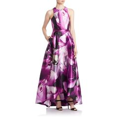 Ml - Monique Lhuillier Printed Cross-Back Gown ($698) ❤ liked on Polyvore featuring dresses, gowns, orchid, purple gown, sleeveless gown, sleeveless pleated dress, purple evening gown and cutout dress