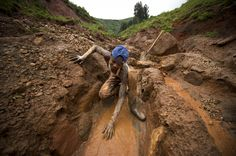 An artisanal miner searches for coltan from the valley below Senator Edouard Mwangachuchu's mine in the Masisi territory of the Democratic Republic of Congo. Description from thestar.com. I searched for this on bing.com/images