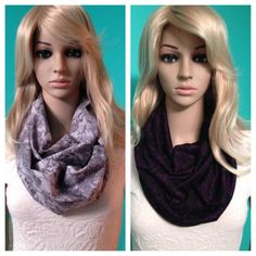 Grey paisley and black with purple paisley infinity scarves, by Beckysscarfshop, $15.00 each Paisley Scarves, Infinity, Trending Outfits, Purple, Grey, Unique Jewelry, Clothes, Vintage, Black