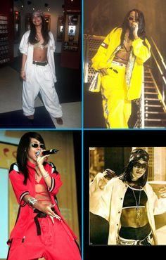 Aaliyah; street style; urban; tommy hilfiger; 90s