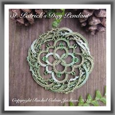 The Piney Woods Tatter: St. Patrick's Day FREE Pendant Pattern Like the layering of the outside ring (pink/brown/cream? Shuttle Tatting Patterns, Needle Tatting Patterns, Crochet Stitches, Crochet Patterns, Tatting Jewelry, Tatting Lace, Bobbin Lace, Needle Lace, Lace Making