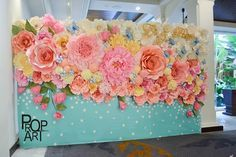 wedding paper flowers wall