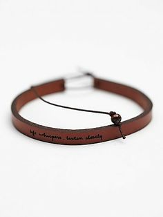 """Free People All in a Word Leather Bracelet - """"Life whispers, listen closely."""""""