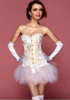 7d27313881 Burlesque Bows Strapless Corset Fancy Dress Tutu