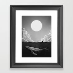 otherside, whale, painting, black and white, fisherman , clouds