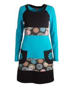 Love this Teal Sunburst Long-Sleeve Pocket Dress on #zulily! #zulilyfinds