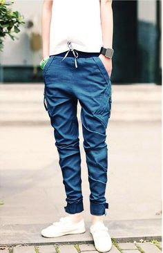 Fashion Low Waist Lace-Up Narrow Feet Polyester Pants For Men Casual Jeans, Men Casual, Denim Jeans, Fashion Pants, Fashion Outfits, Style Fashion, Harem Pants Men, Men's Pants, Pants For Women