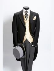 Plain black light weight wool morning coat with grey stripe trousers by Neal & Palmer Wedding Morning Suits, Best Wedding Suits, Best Man Wedding, Tuxedo Wedding, Wedding Attire, Wedding Tuxedos, Morning Coat, Morning Dress, Fashion Moda