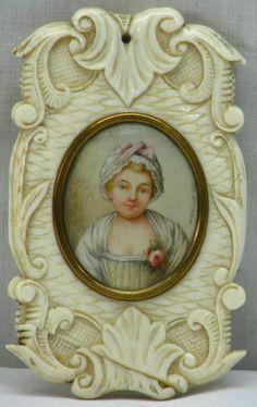 Antique Miniature Painting circa 1810 Mirror Case Signed NR #Miniature