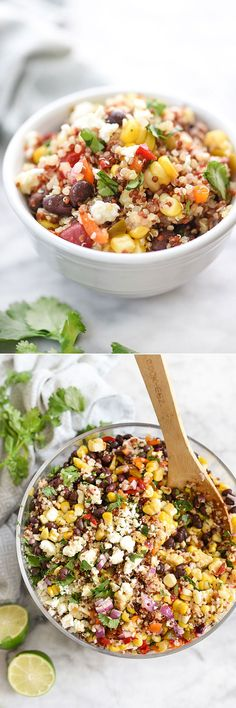 Southwest Quinoa and Grilled Corn Salad - Loaded with Grilled Corn, Protein-Packed Quinoa, Onions, Black Beans, Cilantro and Mexican Queso for a Southwest Flavor. Healthy and delicious! Vegetarian Recipes, Cooking Recipes, Healthy Recipes, Grilling Recipes, Quinoa Recipes Easy, Healthy Grilling, Keto Recipes, Healthy Salads, Healthy Eating