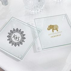 Personalized Glass Coasters Indian Jewel Design | Imprinted glass coasters with Indian theme design