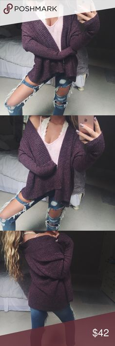 maroon chunky cardi maroon chunky knit cardigan // super gorgeous and cozy // in excellent condition // fits like a medium 🌄💐 Sweaters Cardigans