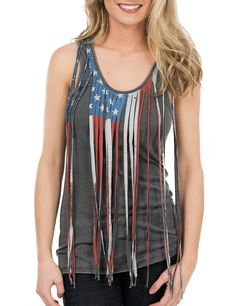 Rock & Roll Cowgirl Women's Grey with American Flag Fringe Sleeveless Casual Knit Top | Cavender's