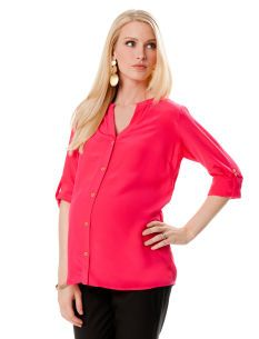 Rosie Pope Convertible Sleeve Button Front Maternity Shirt