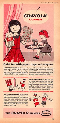 """1958 Crayola ad with directions for """"quiet fun with paper bags and crayons"""""""