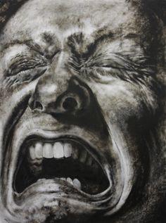 "https://www.facebook.com/claralieu/ Clara Lieu, Self-Portrait No. 4 etching ink and lithographic crayon on Dura-Lar, 48"" x 36"", x 2011"