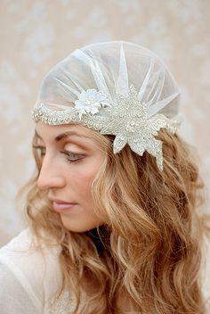 Geneva  Downton Abbey/Bridal Cap with by twigandsparrowshop (via etsy)
