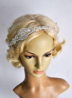 Long Bridal Headband Crystal Pearls Rhinestone by BlueSkyHorizons Crystal Headband, Rhinestone Headband, Pearl Headband, Rhinestone Wedding, Crystal Rhinestone, 1920s Headpiece, Gatsby Headband, Wedding Headband, Bridal Hair