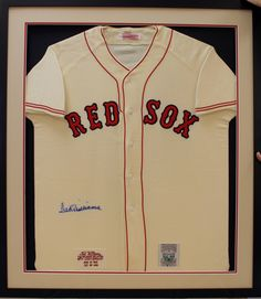 Boston Red Sox Jersey signed and placed inside a custom shadowbox frame.  Custom frame design by Art and Frame Express in central NJ at our Edison location.