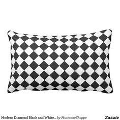 Modern Diamond Black and White Checkers Throw Pillow