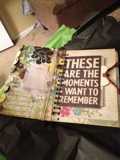 front cover and first page of larger size homemade journal