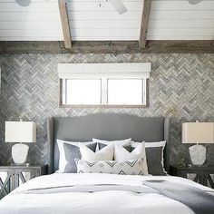 Gray Wingback Headboard with Gray Mirrored Nightstands, Transitional, Bedroom
