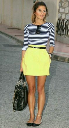 navy stripes & yellow skirt