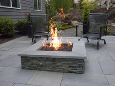 square fire pits | square stone fire pit Landscape Contemporary with Adirondack chairs ...