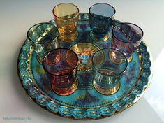 Your place to buy and sell all things handmade Retro Party, Shot Glasses, Punch Bowls, Shots, Tray, Drinks, Handmade, Stuff To Buy, Vintage