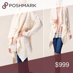 🌺Ivory Super soft draped cardigan Omg I'm obsessed. This is stunning; comes in S/M and M/L and it's so cozy and soft. Oversized fit in luxurious knit cable fabric. Color is ivory. This will be your go to cardigan that you can dress up or down! Price is worth the investment in this closet staple! I'm wearing the M/L with Forest Teal Leggings from my closet Sweaters Cardigans