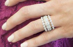 Stacked Wedding Rings, Wedding Rings For Women, Diamond Wedding Rings, Gold Wedding, Stacked Rings, Wedding White, Dream Wedding, Diamond Jewelry, Jewelry Rings