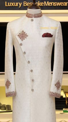 Sherwani for Men Customized by Uomo Attire African Wear Styles For Men, African Dresses Men, African Attire For Men, African Clothing For Men, African Wedding Attire, Indian Wedding Clothes For Men, Sherwani For Men Wedding, Wedding Dress Men, Sherwani Groom