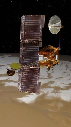NASA's Mars Odyssey has been orbiting Mars since October 24, 2001 passes above Mars' south pole in this artist's concept illustrationt: NASA/JPL-Caltech