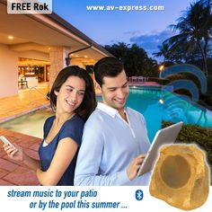 Great Bluetooth Rock Speakers for patio,backyard, landscape,outdoor living, and swimming ideas! Wirelessly stream your music outside this summer! Rock Speakers, Wireless Outdoor Speakers, Backyard Patio, Backyard Landscaping, Backyard Ideas, Free Sweepstakes, Outdoor Theater, Cool Fathers Day Gifts, Good Good Father