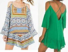 Patrón de vestido informal sin hombros y manga caída - Patrones gratis