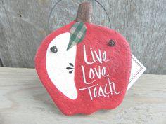 Teacher Gift Salt Dough Apple Ornament 5.95 www.cookiedoughcreations.net